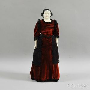 Black-haired China Shoulder Head Doll