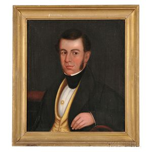 American School, 19th Century      Portrait of Thomas Leavitt, of East Hingham and Wolfeboro, New Hampshire.
