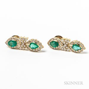 18kt Gold, Emerald, and Diamond Earrings