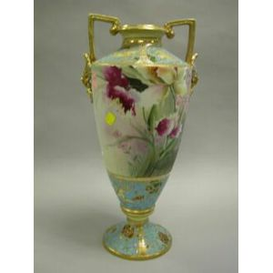 Large Nippon Handpainted Floral and Gilt Decorated Porcelain Vase.