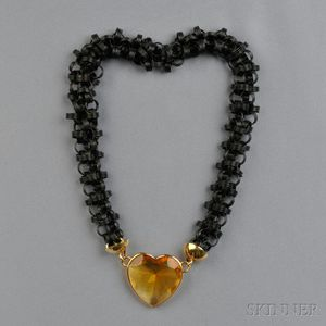 14kt Gold, Black Anodized Metal, and Citrine Necklace