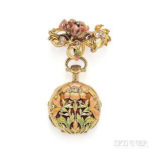 Art Nouveau 18kt Gold, Enamel, and Diamond Open Face Pendant Watch