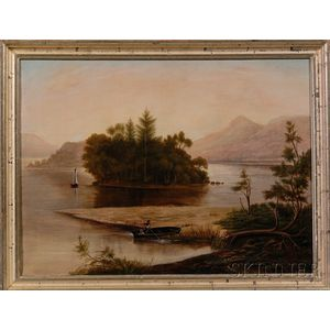 American School, 19th Century      Landscape with Figures Poling in a Mountain Lake.