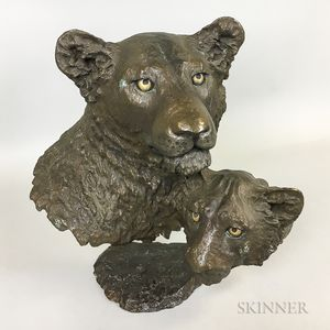 Mark Hopkins Bronze Lioness and Cub Sculpture.     Estimate $300-500