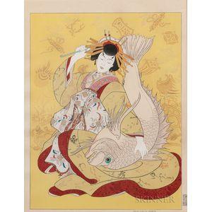 Paul Jacoulet (1902-1960), Ebisu, Dieu du Bonheur, Personnifie par une Courtisane du Shimabara, Kyoto, Japon