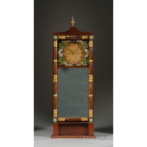 Mahogany Striking Mirror Wall Clock