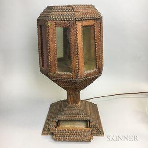 Tramp Art Octagonal Table Lamp