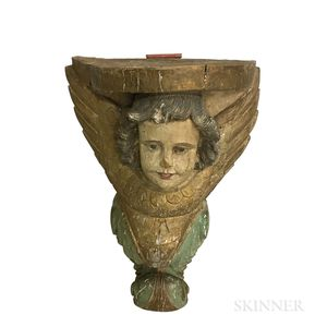 Carved and Painted Gesso Architectural Element of a Cherub