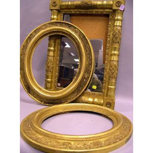 Giltwood Split Baluster Mirror and a Pair of Oval Giltwood Frames.