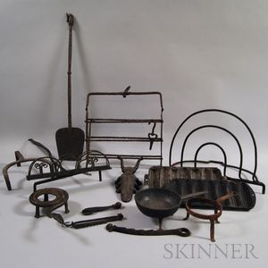 Seventeen Wrought and Cast Iron Cooking Implements