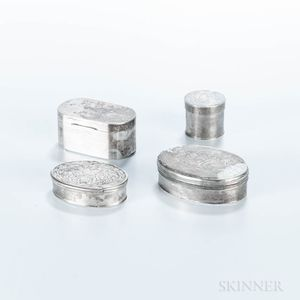 Four Small Engraved Silver Boxes
