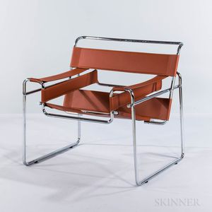 Red/Brown Leather and Chrome Wassily-style Armchair