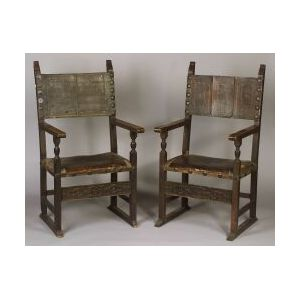 Pair of Italian Renaissance-style Leather Upholstered Walnut Great Chairs
