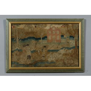Wool Needlework Picture of Village, Shepherd, and Sheep