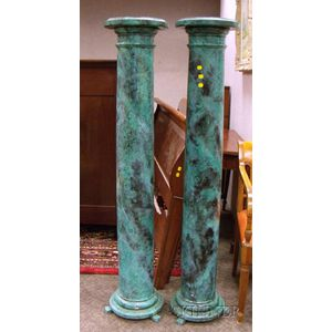 Pair of Faux Marble Painted Wooden Columns