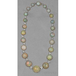 18kt Gold, Opal, and Diamond Necklace