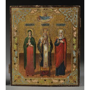 Russian Icon with Three Patron Saints