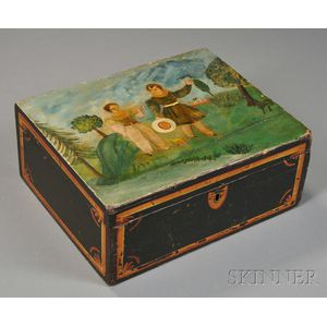 Folk Art Wood Box Paint-decorated with Two Boys in a Landscape