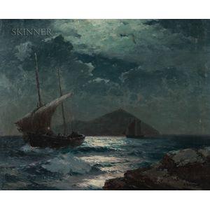 Alexei Vasilievich Hanzen (Russian, 1876-1937)      Ships in Moonlight