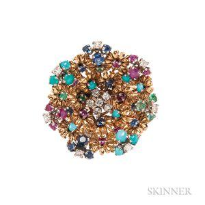 18kt Gold Gem-set Flower Ring