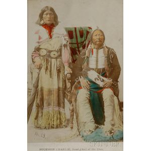 Color Tinted Photograph of Ute Chief Buckskin Charlie and Wife