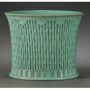 Turquoise Glazed Brush Pot