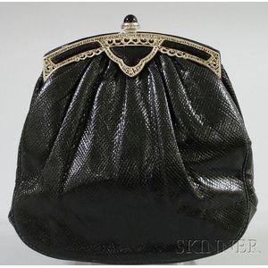 Vintage Judith Leiber Black Karung Skin Purse
