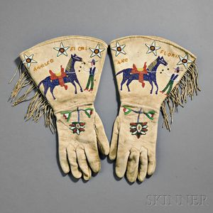 Shoshone Pictorial Beaded Gauntlets