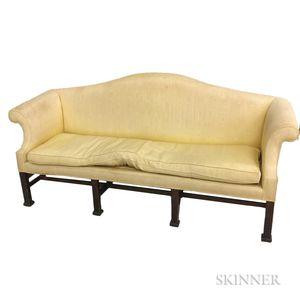 Chippendale-style Upholstered Mahogany Camel-back Sofa