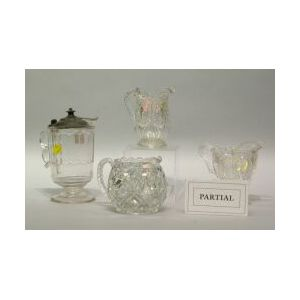 Twenty-one Assorted Colorless Pressed Pattern Glass Creamers and Tankards.
