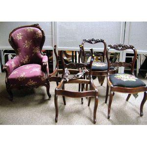Four Victorian Side Chairs & a Parlour Chair.