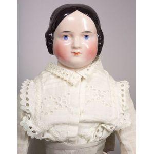 Pink Tint Covered Wagon China Shoulder Head Doll