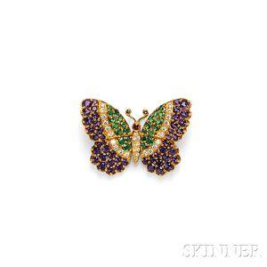 18kt Gold Gem-set Butterfly Brooch, Jean Vitau