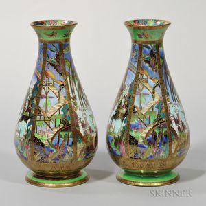 Pair of Wedgwood Fairyland Lustre Pillar   Vases