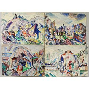 Leighton Cram (American, 1895-1981)      Eight Modern Landscapes.