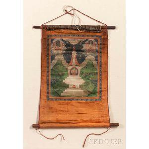Thangka Hanging Scroll Depicting a Triad of Amitayus