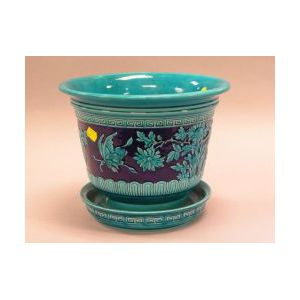 Minton Blue Glazed Ceramic Jardiniere with Underplate.