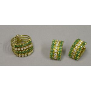 18kt Gold, Emerald, and Diamond Stacking Ring and Earrings Suite.