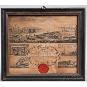 Printed Salem Marine Society Membership Certificate