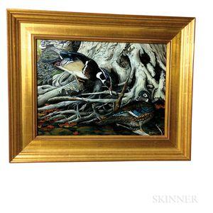 Framed Jim Collins (American, 20th Century) Oil on Board of Ducks