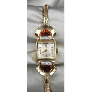 Retro 14kt Gold and Citrine Wristwatch, Longines