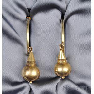 Antique 14kt Gold Hoop Earpendants