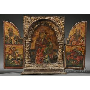 Greek Carved, Gilded, and Painted Triptych