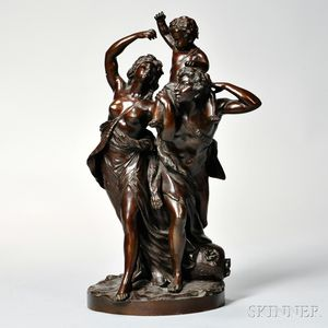 After Claude Michel Clodion (French, 1738-1814)       Bronze Figural Depiction of Bacchantes - The Family