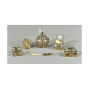 Five French Glass and Ormolu Mounted Desk Articles