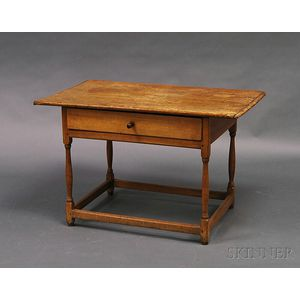 Maple and Pine One-drawer Tavern Table