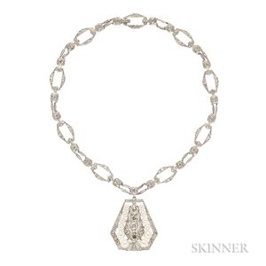 Art Deco Platinum, Diamond, and Pearl Pendant Necklace