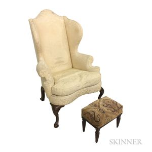 Queen Anne-style Upholstered Walnut Wing Chair and a Regency Mahogany Footstool
