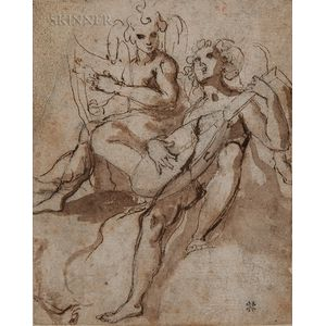 Attributed to Prospero Fontana (Italian, 1512-1597)      Two Music-making Angels