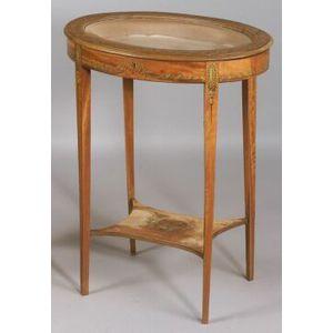 Edwardian Painted Satinwood Oval Vitrine Table